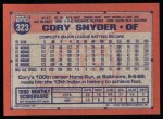 1991 Topps #323  Cory Snyder  Back Thumbnail