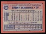 1991 Topps #90  Danny Tartabull  Back Thumbnail