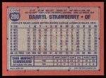 1991 Topps #200  Darryl Strawberry  Back Thumbnail