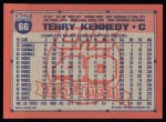 1991 Topps #66  Terry Kennedy  Back Thumbnail