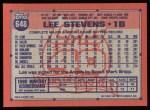 1991 Topps #648  Lee Stevens  Back Thumbnail