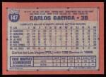 1991 Topps #147  Carlos Baerga  Back Thumbnail