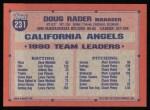 1991 Topps #231  Doug Rader  Back Thumbnail