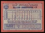 1991 Topps #223  Allan Anderson  Back Thumbnail