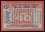 1991 Topps #421  Alex Cole  Back Thumbnail