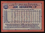 1991 Topps #269  Joe Hesketh  Back Thumbnail