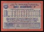 1991 Topps #641  Mike Henneman  Back Thumbnail