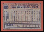 1991 Topps #142  Curt Wilkerson  Back Thumbnail