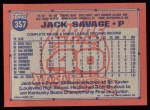 1991 Topps #357  Jack Savage  Back Thumbnail