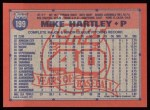 1991 Topps #199  Mike Hartley  Back Thumbnail