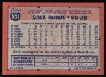 1991 Topps #531  Dave Rohde  Back Thumbnail