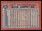 1991 Topps #130  Ozzie Smith  Back Thumbnail