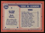 1991 Topps #394   -  Bob Welch All-Star Back Thumbnail