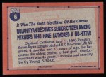 1991 Topps #6   -  Nolan Ryan Record Breaker Back Thumbnail