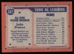 1991 Topps #387   -  Julio Franco All-Star Back Thumbnail