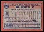 1991 Topps #233  Al Leiter  Back Thumbnail