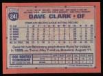 1991 Topps #241  Dave Clark  Back Thumbnail