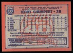1991 Topps #322  Terry Shumpert  Back Thumbnail