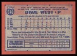1991 Topps #578  Dave West  Back Thumbnail
