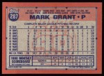 1991 Topps #287  Mark Grant  Back Thumbnail