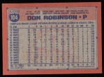 1991 Topps #104  Don Robinson  Back Thumbnail