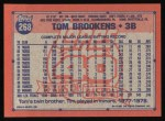 1991 Topps #268  Tom Brookens  Back Thumbnail