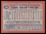 1991 Topps #26  Luis Sojo  Back Thumbnail