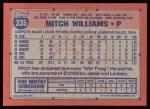 1991 Topps #335  Mitch Williams  Back Thumbnail