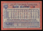 1991 Topps #270  Mark McGwire  Back Thumbnail