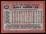 1991 Topps #184  Gary Green  Back Thumbnail
