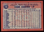 1991 Topps #118  Tom Edens  Back Thumbnail