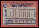 1991 Topps #551  Bob Kipper  Back Thumbnail