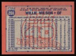 1991 Topps #208  Willie Wilson  Back Thumbnail