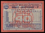 1991 Topps #244  Mike Jeffcoat  Back Thumbnail