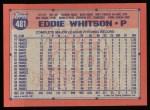 1991 Topps #481  Eddie Whitson  Back Thumbnail