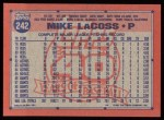 1991 Topps #242  Mike LaCoss  Back Thumbnail