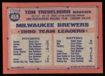 1991 Topps #459  Tom Trebelhorn   Back Thumbnail