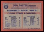 1991 Topps #81  Cito Gaston  Back Thumbnail