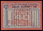 1991 Topps #650  Jack Clark  Back Thumbnail