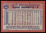 1991 Topps #410  Dave Righetti  Back Thumbnail