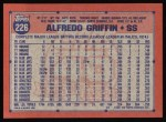1991 Topps #226  Alfredo Griffin  Back Thumbnail
