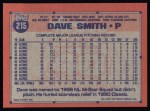 1991 Topps #215  Dave Smith  Back Thumbnail