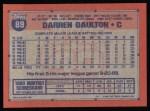 1991 Topps #89  Darren Daulton  Back Thumbnail