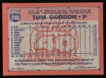 1991 Topps #248  Tom Gordon  Back Thumbnail