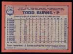 1991 Topps #608  Todd Burns  Back Thumbnail