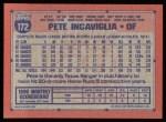 1991 Topps #172  Pete Incaviglia  Back Thumbnail