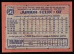 1991 Topps #543  Junior Felix  Back Thumbnail