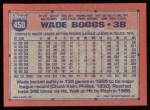 1991 Topps #450  Wade Boggs  Back Thumbnail