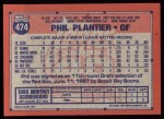 1991 Topps #474  Phil Plantier  Back Thumbnail