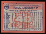 1991 Topps #431  Paul Gibson  Back Thumbnail